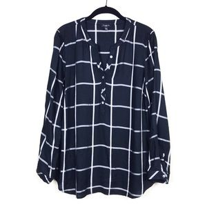 Talbots Black Windowpane Long Sleeve Popover Top